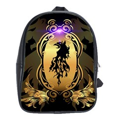 Lion Silhouette With Flame On Golden Shield School Bags (XL)  by FantasyWorld7