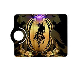 Lion Silhouette With Flame On Golden Shield Kindle Fire Hd (2013) Flip 360 Case by FantasyWorld7