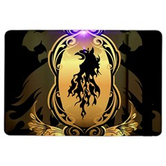 Lion Silhouette With Flame On Golden Shield Ipad Air 2 Flip by FantasyWorld7