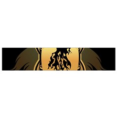 Lion Silhouette With Flame On Golden Shield Flano Scarf (small)  by FantasyWorld7