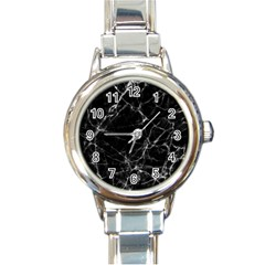 Black Marble Stone Pattern Round Italian Charm Watches by Dushan