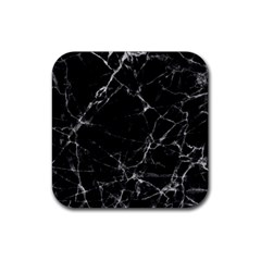 Black Marble Stone Pattern Rubber Square Coaster (4 Pack)  by Dushan