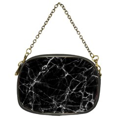 Black Marble Stone Pattern Chain Purses (one Side)  by Dushan