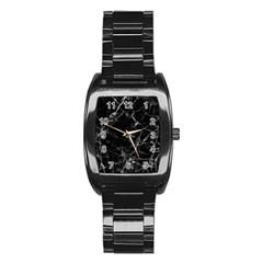 Black Marble Stone Pattern Stainless Steel Barrel Watch