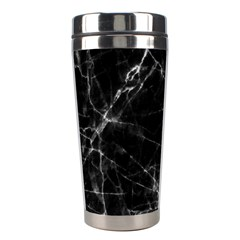 Black Marble Stone Pattern Stainless Steel Travel Tumblers by Dushan