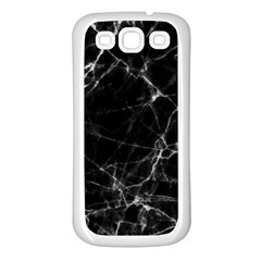 Black Marble Stone Pattern Samsung Galaxy S3 Back Case (white) by Dushan