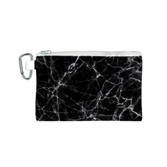 Black Marble Stone Pattern Canvas Cosmetic Bag (s) by Dushan