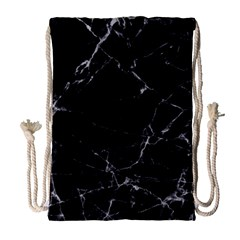 Black Marble Stone Pattern Drawstring Bag (large) by Dushan