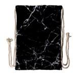 Black marble Stone pattern Drawstring Bag (Large) Front