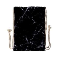 Black Marble Stone Pattern Drawstring Bag (small) by Dushan