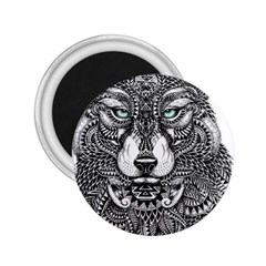 Intricate Elegant Wolf Head Illustration 2 25  Magnets by Dushan