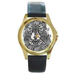 Intricate Elegant Wolf Head Illustration Round Gold Metal Watches