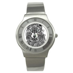 Intricate Elegant Wolf Head Illustration Stainless Steel Watches by Dushan