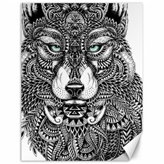 Intricate Elegant Wolf Head Illustration Canvas 12  X 16   by Dushan