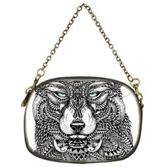 Intricate Elegant Wolf Head Illustration Chain Purses (one Side)  by Dushan