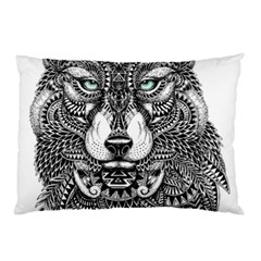 Intricate elegant wolf head illustration Pillow Cases by Dushan