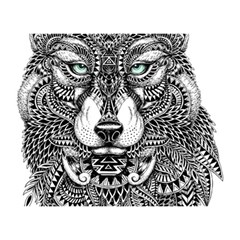 Intricate Elegant Wolf Head Illustration Birthday Cake 3d Greeting Card (7x5)