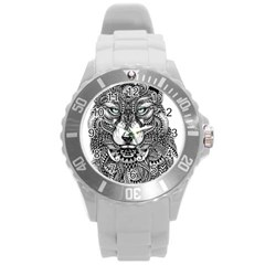 Intricate Elegant Wolf Head Illustration Round Plastic Sport Watch (l) by Dushan