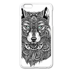 Intricate elegant wolf head illustration Apple iPhone 6 Plus/6S Plus Enamel White Case by Dushan