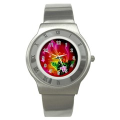 Awesome F?owers With Glowing Lines Stainless Steel Watches by FantasyWorld7