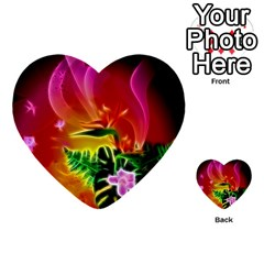 Awesome F?owers With Glowing Lines Multi Purpose Cards (heart)  by FantasyWorld7