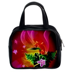 Awesome F?owers With Glowing Lines Classic Handbags (2 Sides) by FantasyWorld7