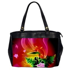 Awesome F?owers With Glowing Lines Office Handbags (2 Sides)  by FantasyWorld7