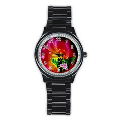Awesome F?owers With Glowing Lines Stainless Steel Round Watches by FantasyWorld7
