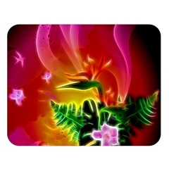 Awesome F?owers With Glowing Lines Double Sided Flano Blanket (large)  by FantasyWorld7