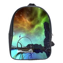 Fantasy Landscape With Lamp Boat And Awesome Sky School Bags(large)  by FantasyWorld7