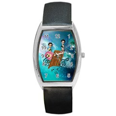 Music, Pan Flute With Fairy Barrel Metal Watches by FantasyWorld7
