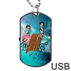 Music, Pan Flute With Fairy Dog Tag Usb Flash (one Side) by FantasyWorld7