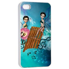 Music, Pan Flute With Fairy Apple Iphone 4/4s Seamless Case (white) by FantasyWorld7