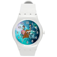 Music, Pan Flute With Fairy Round Plastic Sport Watch (m) by FantasyWorld7