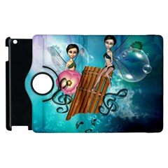 Music, Pan Flute With Fairy Apple Ipad 2 Flip 360 Case by FantasyWorld7