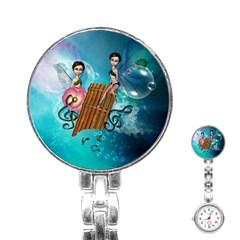 Music, Pan Flute With Fairy Stainless Steel Nurses Watches by FantasyWorld7