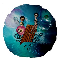Music, Pan Flute With Fairy Large 18  Premium Flano Round Cushions by FantasyWorld7