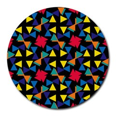 Colorful triangles and flowers pattern Round Mousepad by LalyLauraFLM
