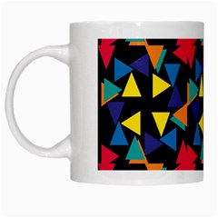 Colorful Triangles And Flowers Pattern White Mug by LalyLauraFLM