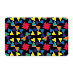 Colorful Triangles And Flowers Pattern Magnet (rectangular) by LalyLauraFLM