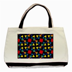 Colorful Triangles And Flowers Pattern Basic Tote Bag by LalyLauraFLM