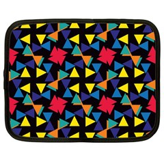 Colorful Triangles And Flowers Pattern Netbook Case (large)	 by LalyLauraFLM