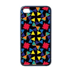 Colorful Triangles And Flowers Pattern Apple Iphone 4 Case (black) by LalyLauraFLM