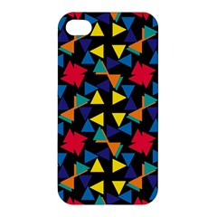 Colorful Triangles And Flowers Pattern Apple Iphone 4/4s Hardshell Case by LalyLauraFLM