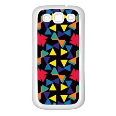 Colorful Triangles And Flowers Pattern Samsung Galaxy S3 Back Case (white) by LalyLauraFLM