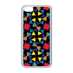 Colorful Triangles And Flowers Pattern Apple Iphone 5c Seamless Case (white) by LalyLauraFLM
