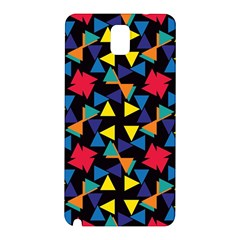 Colorful Triangles And Flowers Pattern Samsung Galaxy Note 3 N9005 Hardshell Back Case by LalyLauraFLM