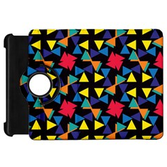 Colorful Triangles And Flowers Patternkindle Fire Hd Flip 360 Case by LalyLauraFLM