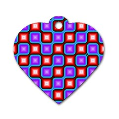 Connected Squares Pattern Dog Tag Heart (one Side) by LalyLauraFLM