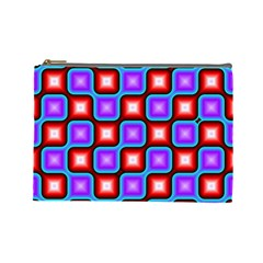 Connected Squares Pattern Cosmetic Bag (large) by LalyLauraFLM